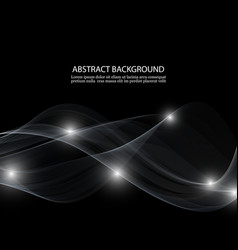 abstract white wave on black background vector image vector image