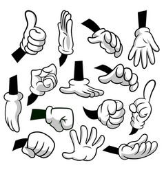 cartoon hands with gloves icon set isolated on vector image