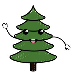 Christmas pine tree kawaii character vector