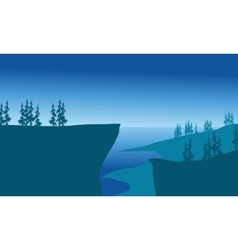 Cliffs of silhouette at the night vector