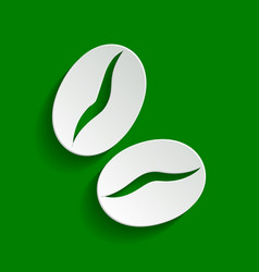 Coffee beans sign paper whitish icon with vector