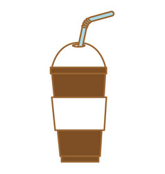 coffee in cup plastic icon vector image vector image