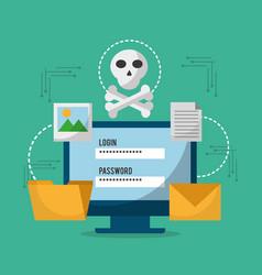 Computer technology login password skull danger vector