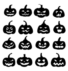Decoration cheerful pumpkins silhouette vector image