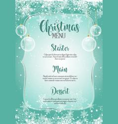 decorative christmas menu vector image vector image