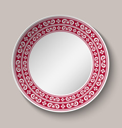 Decorative dish with red and white circular vector