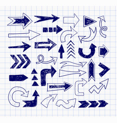 Doodle pen sketch arrows on lined paper vector