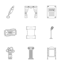Entertainment in theatre icons set outline style vector
