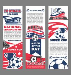 football sport match banner of soccer championship vector image