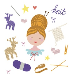 Girl portrait with knitting and sewing tools vector