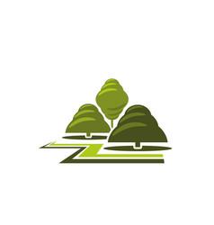 green tree park landscape gardening icon vector image