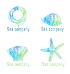 Hand drawn watercolor logos set on theme sea vector