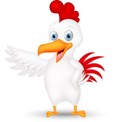 Happy chicken cartoon presenting vector