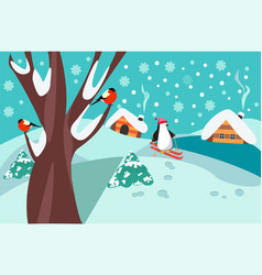 Happy holidays winter landscape with firs tree vector