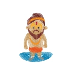Holy man sadhu indian in river design vector