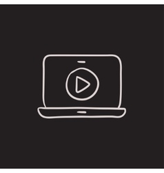 Laptop with play button on screen sketch icon vector image