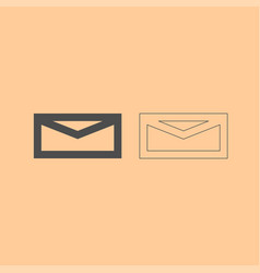 mail dark grey set icon vector image