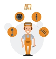 Mechanic cartoon auto rapair icon graphic vector