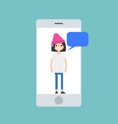 Mobile concept young millennial girl chatting on vector