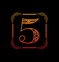 Number 5 with ornament vector