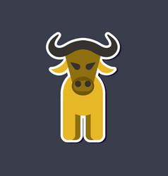 Paper sticker on stylish background cartoon bull vector