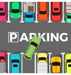 Parking Conceptual Web Banner Car Leaves Place vector image vector image
