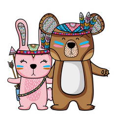 Rabbit and bear animals with feathers design vector