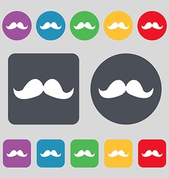 Retro moustache icon sign a set of 12 colored vector