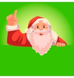 Santa claus pointing up on a green background vector