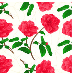 Seamless texture flowers camellia japonica stem vector