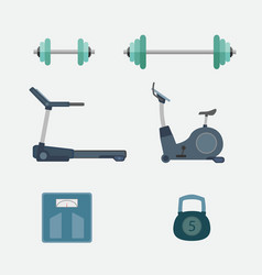 Set of fitness tool body building vector