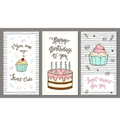 Set of postcards with hand lettering and sweet vector image vector image