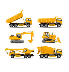 Set of the construction machinery vehicles vector