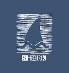 Shark icon in white on blue vector