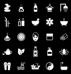Spa icons on black background vector image