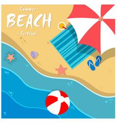 Summer beach festival beach umbrella chair backgro vector