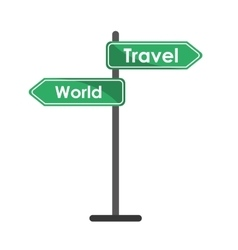 Travel and world road sign tourism concept vector