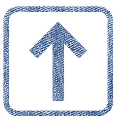 Up arrow fabric textured icon vector