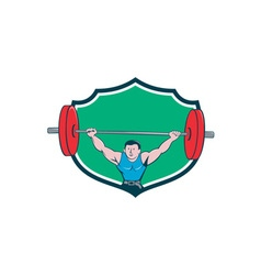 Weightlifter deadlift lifting weights shield vector