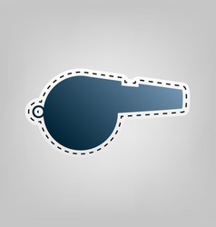 whistle sign blue icon with outline for vector image vector image