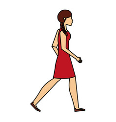 Young woman walking character vector