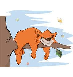 Cat on a tree and butterflies vector