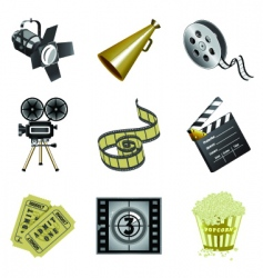Movie industry icons vector