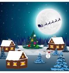 Night christmas forest landscape santa claus vector