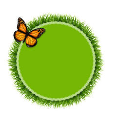 Label with grass and butterfly vector