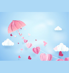 Paper art fly umbrella hanging string with hearts vector