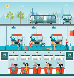 set of bus limousine with people buying ticket at vector image