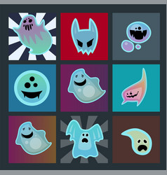 Cartoon spooky ghost character scary cards monster vector