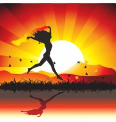woman sunset nature vector image