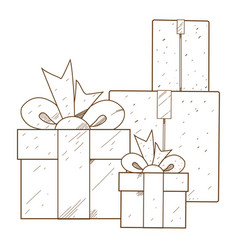 Boxes with gifts outline drawing for coloring vector